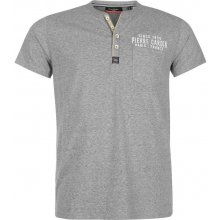 Pierre Cardin Marl Henley T Shirt with Pocket Mens Grey Marl