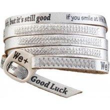 Náramek We Positive stříbrný wrap s nápisy a krystaly Swarovski Elements Silver SW002