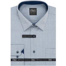 AMJ pánská košile dlouhý rukáv šedo-modrá kostičkovaná VDR942 52353a7f4c