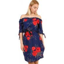 TopMode volné dámské šaty s krátkým rukávem tmavě modrá d16f8b4a5f