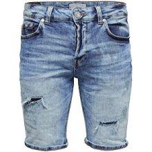 ONLY&SONS Pánské Ply shorts Blue PA 9179 Blue Denim