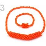 Stoklasa Dětská sada náhrdelník a náramek 3 oranžová neon