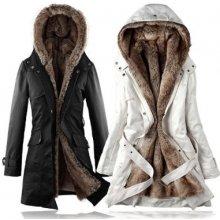 Dlouhý kabát s kožíškem béžový