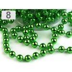 Perličkový vánoční řetěz Ø6 mm zelená sv. 5ks