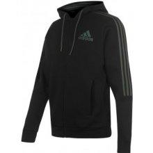 Adidas 3 Stripes Zip Through Hoody Mens Black Green 3f1d77c7f3
