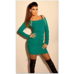 Koucla dámské svetrové mini šaty s kamínky a zipem 228097-3 zelená ... 100ad1fc545