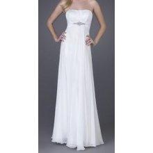 Bílé dlouhé svatební šaty šifonové společenské bez ramínek do tanečních