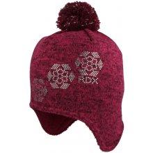 zimní čepice Vločky z kamínků na uši Fialová f98e2a3818