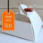 Svatební krabička na výslužku SRDCE bílá 10x10x5,5 cm / výhodné balení 50 ks