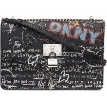 e9be00db79 DKNY Elissa kožená crossbody kabelka se zámečkem black graffiti silver