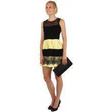e434f066f0be TopMode elegantní dvoubarevné šaty s krajkou žlutá