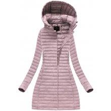 Libland dámská jarní bunda dlouhá růžová 7222 8291a76b9f