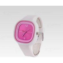 Silikon Watch Square bílo-růžové