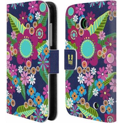 Pouzdro HEAD CASE NOKIA LUMIA 630 / LUMIA 630 DUAL BOTANIKA barevné květy modrá