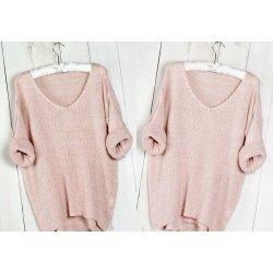 464683b12b1 Fashionweek Báječný pleteny luxusní svetr dámský V-neck ALPAKA MD12 W28  světle růžová