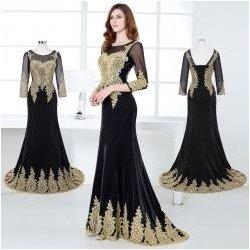 cf6ba8da0b9f Orientální večerní šaty se zlatým zdobením s delším rukávem ...