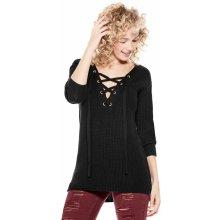 Černý svetr Guess Damita Zip-Collar Sweater vel. c8b09ffdb5