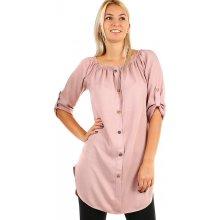 491ed8e581f1 YooY dámské košilové šaty s 3 4 rukávem staro růžová