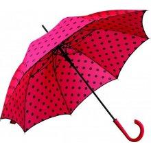 Dámský holový deštník DOTTIE s puntíky červený