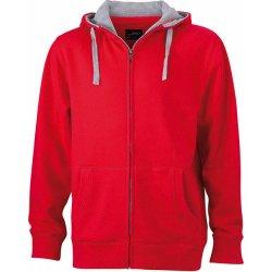 5635b8ee08e James   Nicholson Pánská mikina na zip s kapucí JN963 Červená   šedá ...