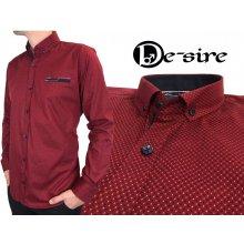 EGO-MAN Červená pánská košile s dvoubarevným vzorem červená 1ca1c39dae
