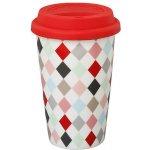 Krasilnikoff Cestovní porcelánový termo hrnek - červený harlekýn 0,3l