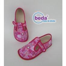 Beda barefoot - bačkorky suchý zip - se znaky růžové