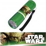 Euroswan Dětská hliníková LED baterka Star Wars zelená 9x3x3 cm