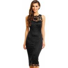 59ca7da77f0 Mayaadi společenské šaty krajkové bez rukávu středně dlouhé černá