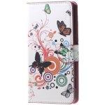 Pouzdro TopQ Huawei Y6 2017 knížkové bílé s motýlky
