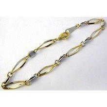 Náramek mohutný zlatý z bílého a žlutého zlata H583