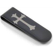 Spona na peníze Trendhim Černá s křížem G3-1-897