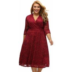 8455f419ca3 Dámské společenské šaty pro plnoštíhlé krajkové červené alternativy ...