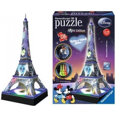 RAVENSBURGER Svítící 3D puzzle Noční edice Eiffelova věž Disney 216 dílků; 122083