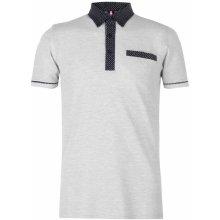 Soviet Patterned Collar Polo Shirt Grey Marl