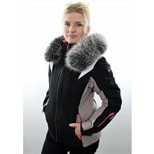 Icepeak dámská zimní bunda Nicki černo šedá s kožešinovým lemem snoutop