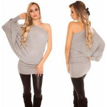 592d7aaab2b0 Koucla dámské pletené šaty s jedním rukávem šedá