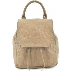 Arteddy dámský dívčí malý kožený batoh a kabelka v jednom s klopnou béžová dee9ab93b6e