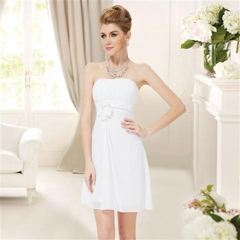 295c7c4b436 Bílé krátké svatební šaty společenské bez ramínek pro nevěstu šaty  popůlnoční alternativy - Heureka.cz