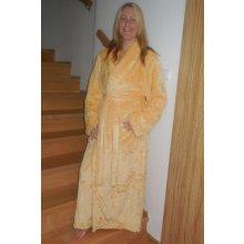 dámský dlouhý hřejivý župan Lilly Extra šálový límec medový
