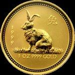 Lunární Zlatá investiční mince Year of the Rabbit Rok Králíka 1 Oz 1999