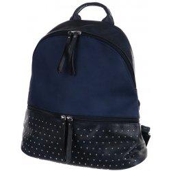 Glara koženkový batoh 339943 s ozdobnými cvočky modrá batoh ... 260ae6a747