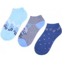 Emi Ross dámské kotníkové bavlněné ponožky 3 páry modrá