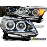 Přední čirá světla BMW 5 E60 + E61 (2003 - 2007) - chromované - Angel Eyes