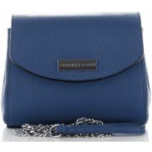 8340986db2 Vittoria Gotti Made in Italy kožená kabelka listonoška Tmavě modrá
