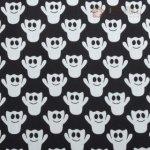 Bavlna černo - bílá s duchy