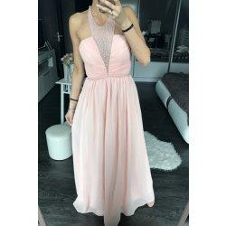 Eva   Lola dámské společenské šaty s perličkami v dekoltu dlouhé růžová 2b6c67d858
