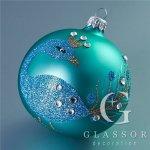 Skleněné vánoční ozdoby - koule tyrkysový mat s dekorem páva