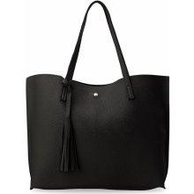 módní dámská kabelka shopper s třásněmi černá a8d89457807