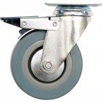 Otočné kolečko, gumové s brzdou 30kg 75/21/104mm